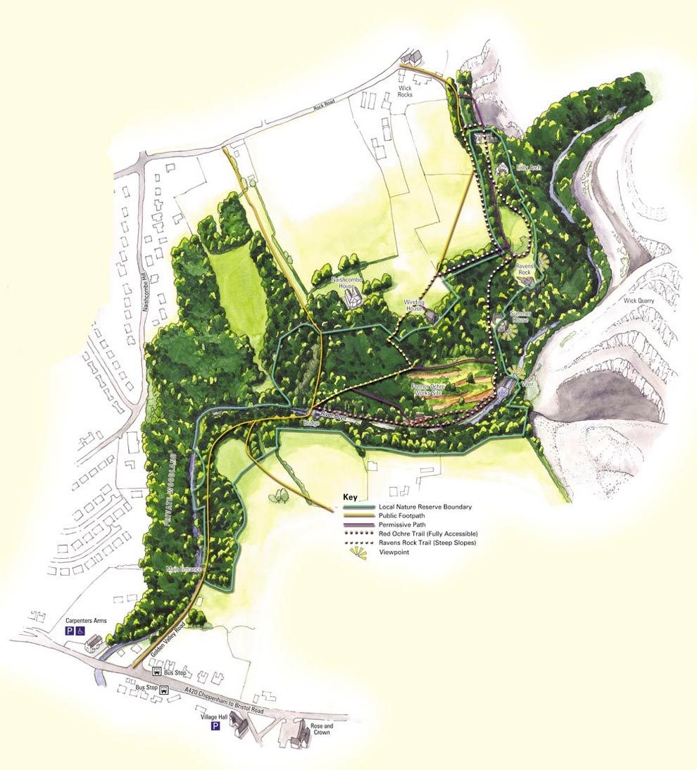 Graphic Site Map: Wick Golden Valley Local Nature Reserve